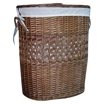 Brown Willow Laundry Basket (S-2)