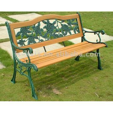 Resin Rose Back Cast Iron Park Bench