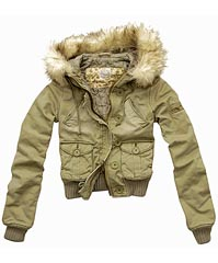 Abercrombie & Fitch Fur Hoodie Militaly Jacket