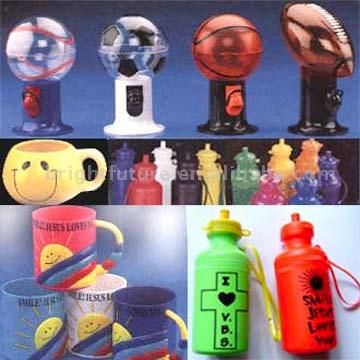 Gumball Machine, Bottles, Cups