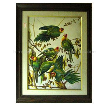 Framed Oil Painting In stock (Birds)