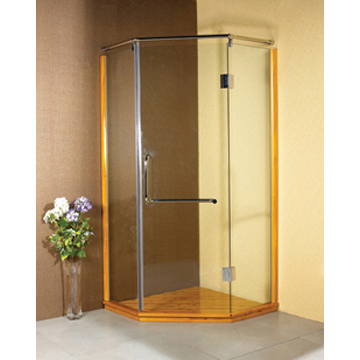 wooden style shower enclosure