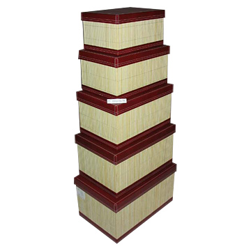 5-Piece Bamboo Covered Rectangle Box Sets