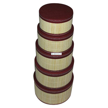 5-Piece Bamboo Covered Round Box Sets