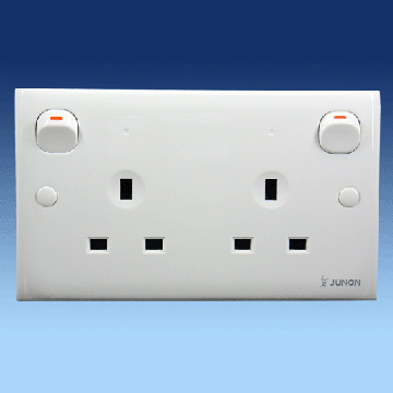 Twin Three Pin Socket with Switches