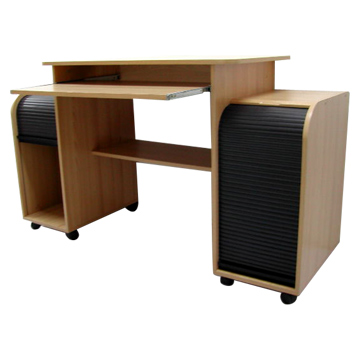Computer Desk with Sliding Doors