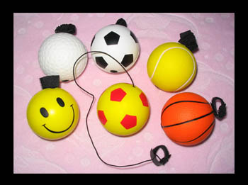 PU Foam Toy Football, Soccer Ball and Golf Ball with Elastic Cords