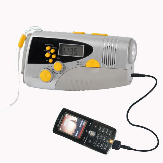Dynamo LCD Display Flashlight With FM/RM Radio and Mobile Charger