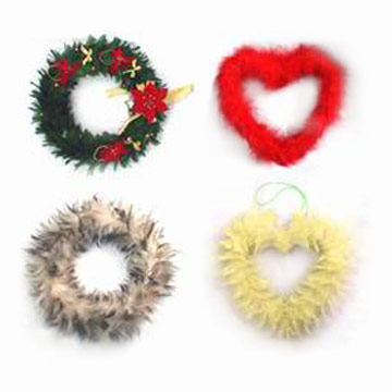 Feather Christmas Rings and Hearts