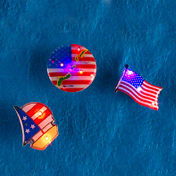 Flashing National Flag Pins