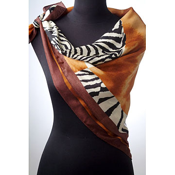 Silk-Wool Printed Square Scarf