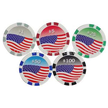 American Flag Poker Chips Style 2