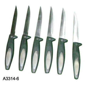 6 Piece Steak Knife Set with Plastic Handles