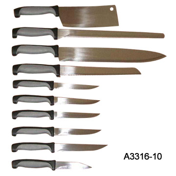 10 Piece Rubber Handle Kitchen Knife Sets