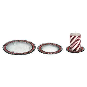 Glass Plate Candle Holders